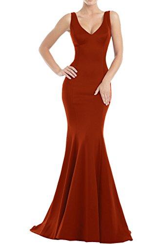 Einfach Satin Ballkleider Rot Rock Abschlussballkleider Langes Abendkleider Charmant Weinrot Damen Meerjungfrau Dunkel SfTnWU1
