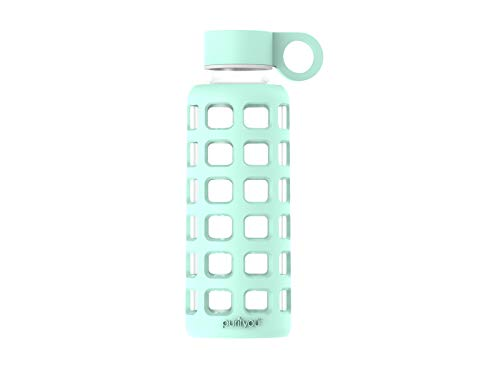 purifyou Premium Glass Water Bottle with Silicone Sleeve and Stainless Steel Lid, 12/32 oz