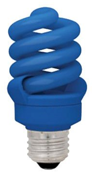 (TCP CFL Spring Lamp, 60W Equivalent, Blue Colored Spiral Light Bulb)