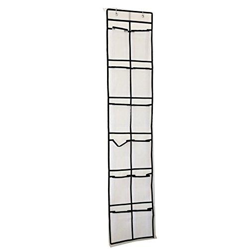 KEBIDI Heavy Duty Mesh Pockets Over The Door Shoe Organizer 12 Large Mesh Pockets Hanging Narrow Closet Door(White)