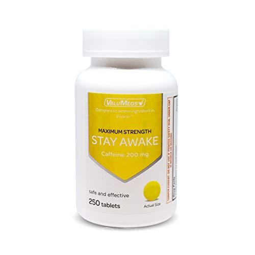 ValuMeds Caffeine Pills (200mg) Fast-Acting Alertness Supplement   Safe, Effective Energy Boost   Restore Clarity, Focus at Home, Work, School   250 Tablets