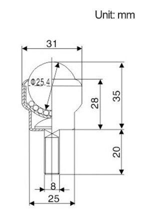 e-meoly Set de 6pcs Perno Tipo 1/Nylon bola Transferencia Teniendo Unidad bola de rodillo de transporte cuadro con perno para transmisi/ón silla de ruedas muebles