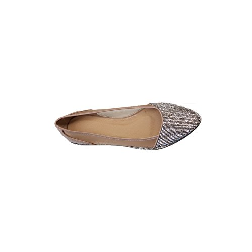 Diamante Boutique See Flat Metallic Pointed Patent Ballet Mesh Toe apricot Shoes Through Sapphire Womens zRadwBqa