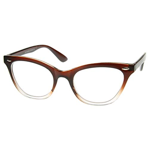 AStyles Vintage Inspired Half Tinted Frame Clear Lens Cat Eye Glasses (Brown-Clear, Clear)