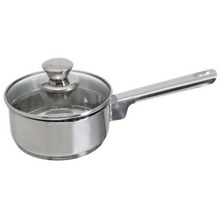 Mainstays Stainless Steel 1-Quart Sauce Pan with Straining Lid