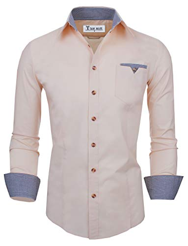 TAM WARE Mens Classic Slim Fit Checkered Contrast Inner Lining Long Sleeve Shirts TWS8219-BEIGE-US S