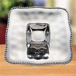Lenox Organics Bead Square Chip & Dip, Silver