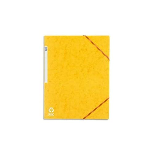 Elba 100200914 Chemise cartonnee A4 3 Rabats avec elastique Jaune