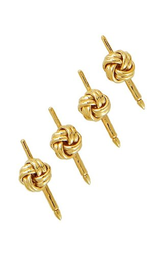 14K Yellow Gold Solid Love Knot Shirt Stud Set-86702 by L&M