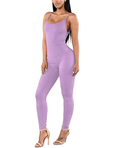 Amilia Womens Spaghetti Strap Bodycon Tank One Piece Jumpsuits Rompers Playsuit (L, Light Purple)