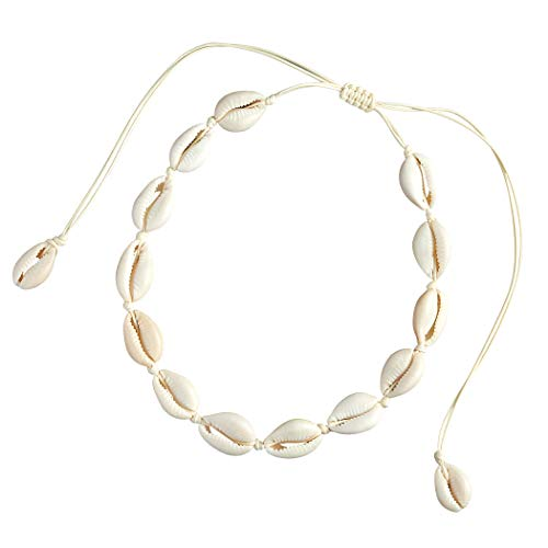 SXNK7 Natural Shell Necklace Choker for Women Girl Bead Pearl Handmade Hawaii Wakiki Beach Rope Jewelry (White Weaving Necklace)