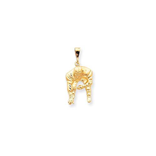 ICE CARATS 10k Yellow Gold Football Pendant Charm Necklace Sport Fine Jewelry Gift Set For Women (10k Gold Football Pendant)