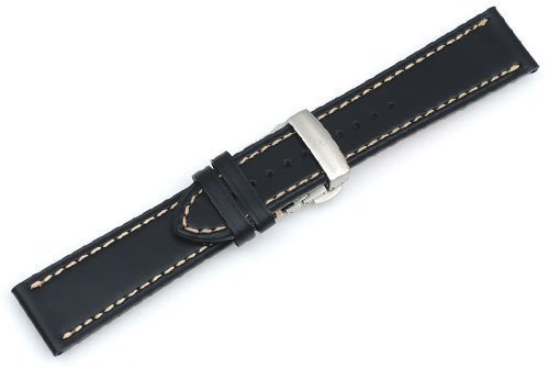 Genuine Swiss Army Infantry Vintage Black Leather Strap