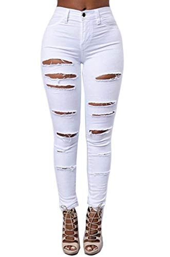 Trou Détruit Battercake Pantalon Blanc Dames Déchiré Printemps Haute Casual Stretch Taille Maigre Genou Automne Denim Femmes Crayon Fissures Jeans Dame 6v8Fwx6q