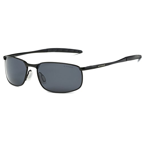 AEVOGUE Polarized Sunglasses For Men Rectangle Metal Frame Retro Sun Glasses AE0395 (Black, 59)