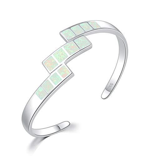 CiNily Cuff Bangle Bracelets for Women 18K White Gold Plated White Opal Bracelets Jewelry Ladies Gems Bangle Bracelet