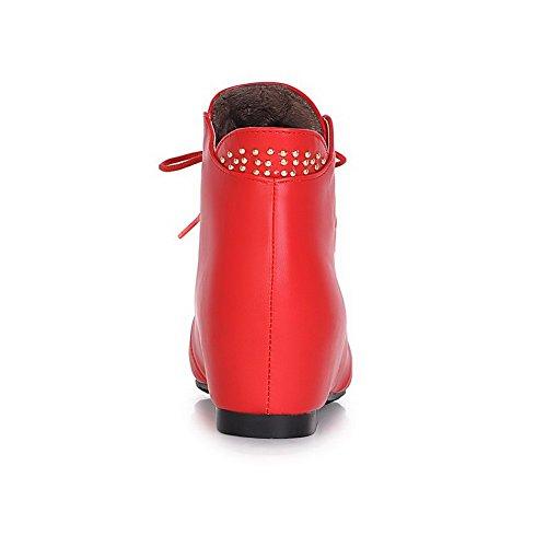 Allhqfashion Dames Pu Blend Materialen Lage Hakken Laarzen Met Winkle Pinker En Slippende Zool Rood