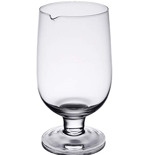 Cocktail Mixing Glass - Stemmed Plain Design - Seamless Handblown Crystal Glass - XL Extra Large 30-ounces / 800ml - Bowled Base to Enhance Stirring - Professional Bar Tools to Create Craft Cocktails