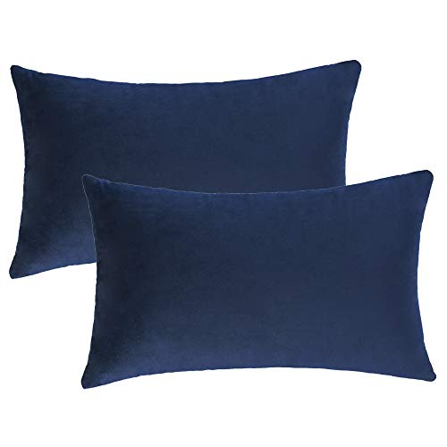 WLNUI Set of 2 Rectangle Soft Velvet Solid Navy Blue Decorative Oblong Lumbar Throw Pillow Covers Set Cushion Case for Sofa Couch Home Decor 12x20 Inch 30x50 cm (Blue Throw Pillow Velvet)