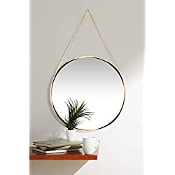 Franc Gold Round Wall Mirror | Circular Gold Mirror on Chain | 17.5 inch Diameter | Modern Glam Collection | Real Metal Chain for Easy Hanging | Perfect for Bathroom, Bedroom, Kids Room, Living Room