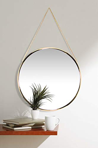 Franc Gold Round Wall Mirror | Circular Gold Mirror on Chain | 17.5 inch Diameter | Modern Glam Collection | Real Metal Chain for Easy Hanging | Perfect for Bathroom, Bedroom, Kids Room, Living Room (Large Mirrors Circular Wall)