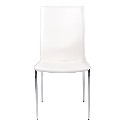 Euro Style Max Leather Side Dining Chair with Chromed Steel Base, Set of 2, White