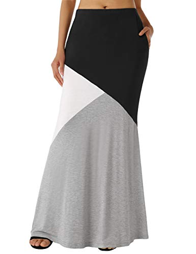 DJT Patchwork Skirt for Women, Womens Color Block High Waist Comfy Long Maxi Skirt with Pockets Grey+Black XL