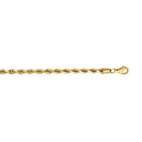 (14Kt Solid Yellow Gold Diamond Cut Rope Pendant Chain/Necklace 3 Mm (24 Inches))