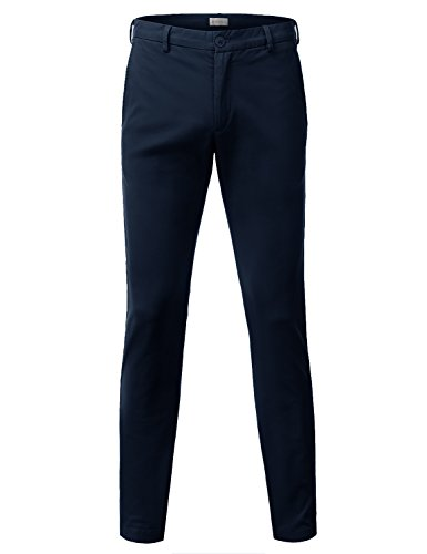 China Blue Apparel (Doublju Mens Slim Fit Cotton Twill Flat Front Chino Pants NAVY)