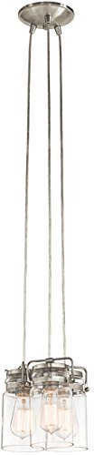 "KICHLER 42869NI Brinley Vintage Pendant Lighting 3-Light (9"" W x 8"" H), Brushed Nickel"