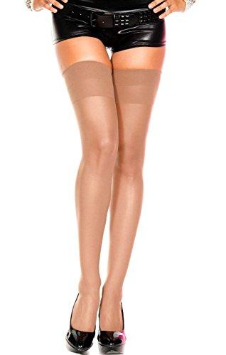 Music Legs Womens Sheer Nylon Stocking Plain Top (One Size, Coffee)