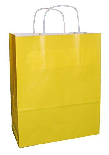 30 Gelbe Drehgriff Papiertragetaschen 250 x 110 x 310mm - Wählen Sie Ihre Größe und Farbe