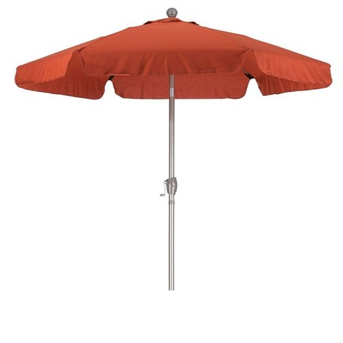 CHOOSEandBUY Brick Red 7.5-Ft Patio Umbrella with 3-Way Push Button Tilt and Metal Pole in Champagne Finish Umbrella Windproof Handle C Inverted