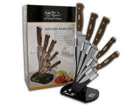 HEN & ROOSTER AND International 5 Piece Wooden Kitchen Knife Knives (Stainless Traditional Kitchen Knife Set)