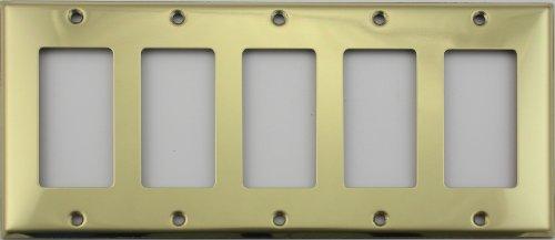 Stamped Polished Brass 5 Gang GFI/Rocker Opening Wall ()