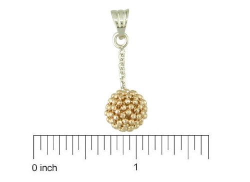 18kt Pink & White Gold Dangle Disco Bead Ball Charm (Length 24mm with bail/8mm Bottom Ball)