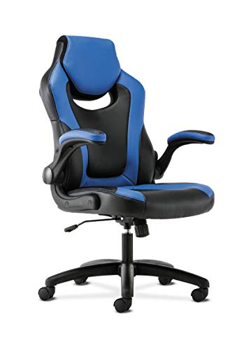 Sadie Racing Gaming Computer Chair- Flip-Up Arms, Black and Blue Leather (HVST913)