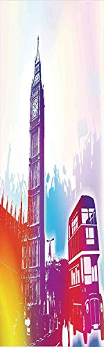 London 3D Decorative Film Privacy Window Film No Glue,Frosted Film Decorative,Historical Big Ben and Bus Great Bell Clock Tower UK Europe Street Landmark,for Home&Office,23.6x59Inch Purple Red Yellow Big Ben Clock Bell