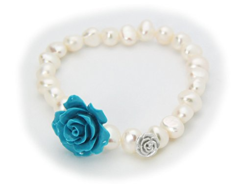 (Fronay Collection Powder Blue Ceramic Rose Cultured Freshwater Pearl Stretch Bracelet in Sterling Silver)