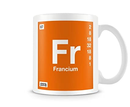 Periodic Table Of Elements 87 Fr Francium Symbol Mug Amazon