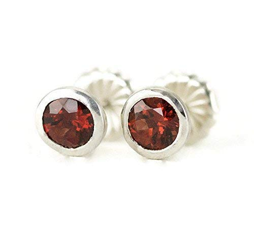 Sterling Garnet Studs - Bezel Set Birthstone Post Earrings - Choose Your Stone