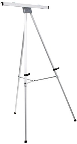 Displays2go Aluminum Easel with Flipchart Holder, 37.5 to 69 Inches Height-Adjustable Tripod with Telescoping Legs - Silver (EAS3769SLV) (George Best Height Weight)