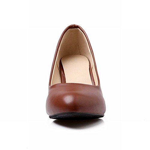 Carol Shoes Fashion Womens Retro Cuff Office Lady Style Stiletto Middle Heel Pumps Shoes Brown mSOFK