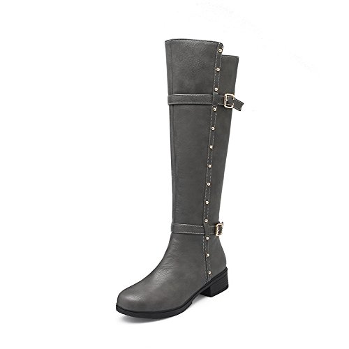 AgooLar Women's Low Heels Solid Round Closed Toe Soft Material Zipper Boots Gray STOhv7Lb
