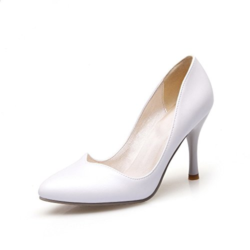 VogueZone009 Women's Pull On Closed Toe Pointed Spikes Stilettos Solid Pumps-Shoes White