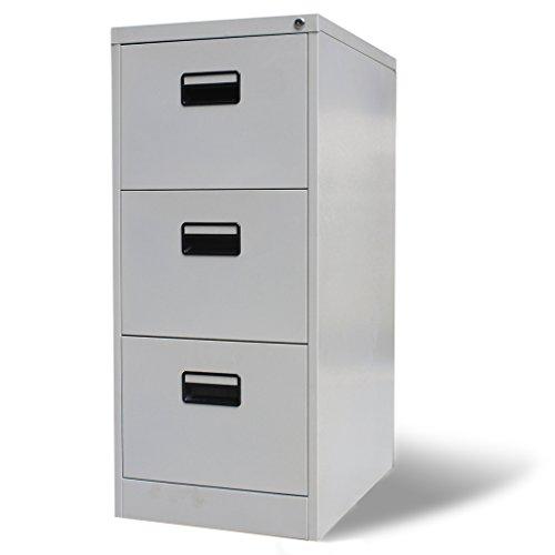 SKB Family Metal Hanging File Cabinet 3 Drawers Gray Lateral Steel Organizer Furniture