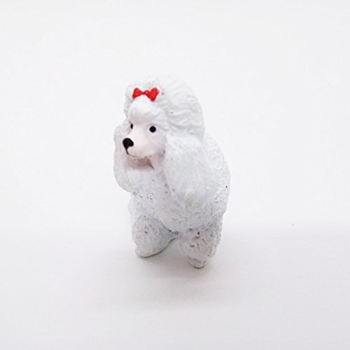 Miniature Dog PooDle White Cute Figurine Collectibles Resin Dolls Hand Decor