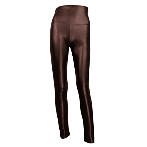 Matt Leather (JNTworld Sexy Faux Leather High Waisted Leggings, S(US4-6), Brown)