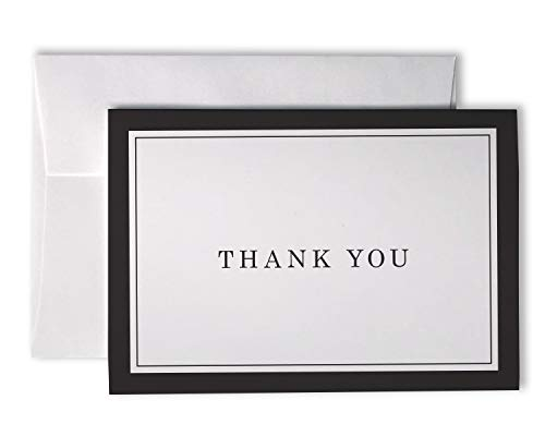 Formal Striped Thick Border Thank You Cards - 48 Cards & Envelopes (Black) ()