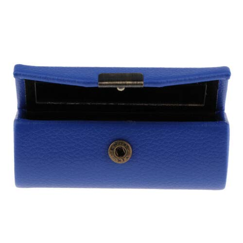 Useful Leather Lipstick Case Holder Cosmetic Jewelry Storage Bag w/Mirror (Color - Sapphire Blue)